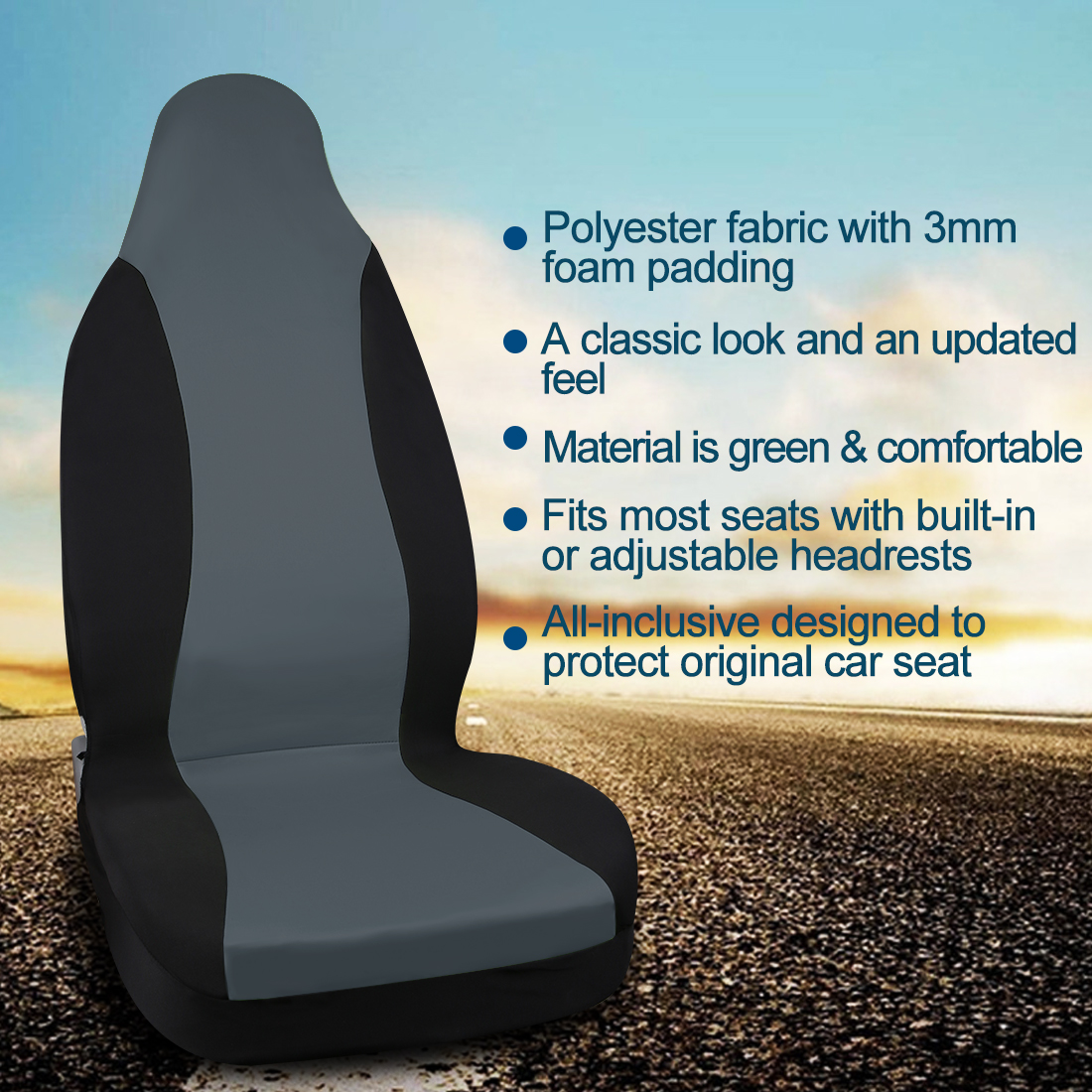 Bucket Seat Cover Universal for Auto Car Truck SUV Front High Back Gray Black