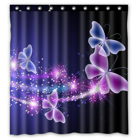 GCKG Pink Purple Butterfly Shining Light Under Blue Sky Waterproof Polyester Shower Curtain and Hooks Size 66x72 inches ()