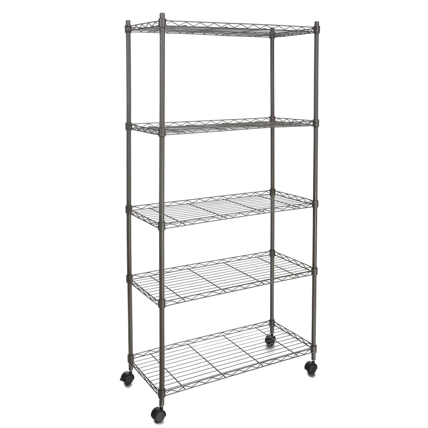 "29""W x 61""H x 14""D Muscle Rack Adjustable Wire Shelving 5-Tier Shelf Metal Shelf Unit with Wheels for Kitchen Bedroom Garage  CEAER"