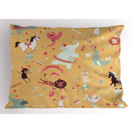 Circus Pillow Sham Retro Cartoon Circus Theme with Seal Holding Ball on His Nose in Balance and Others, Decorative Standard Size Printed Pillowcase, 26 X 20 Inches, Multicolor, by Ambesonne - Circus Themed Ball