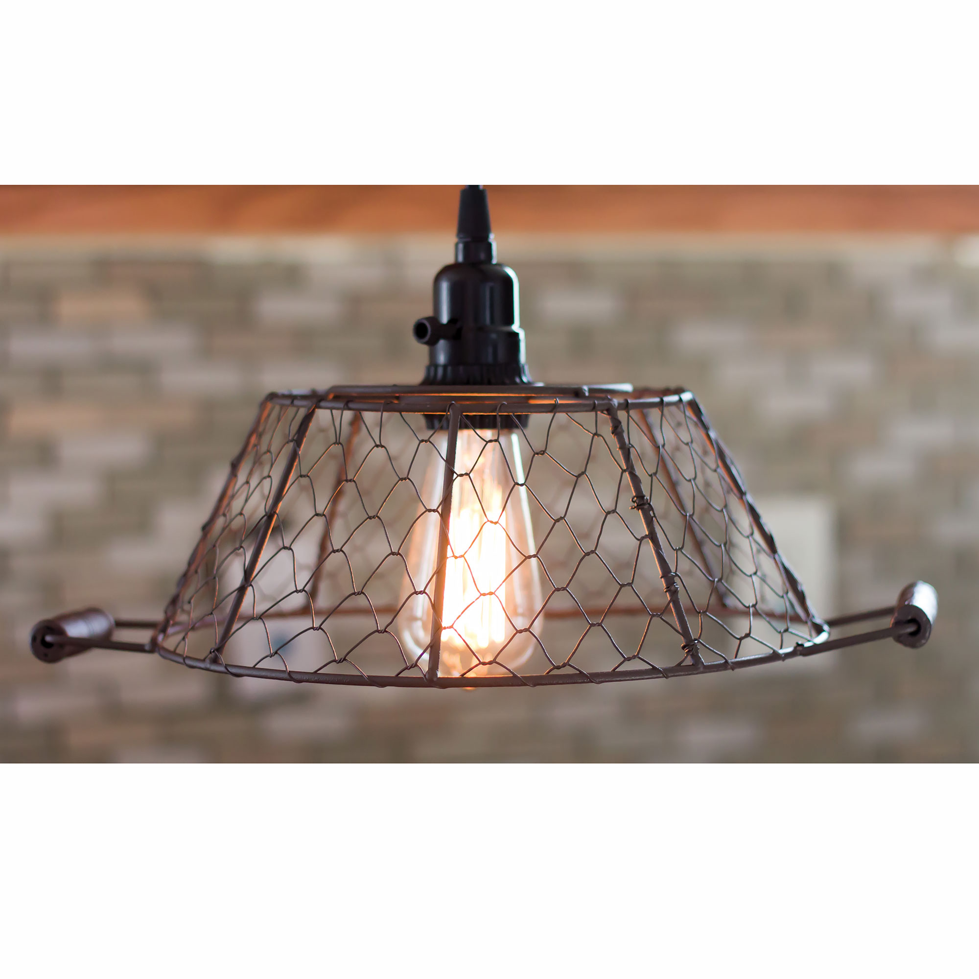Rusty Mesh Lamp Shade Pendant Light, Choice Of Large Or Small