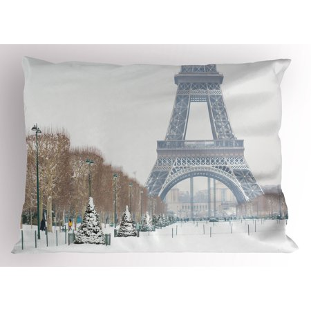 Winter Pillow Sham Eiffel Tower in Snow Outdoors Champ de Mars Tourist Attraction Paris France, Decorative Standard King Size Printed Pillowcase, 36 X 20 Inches, White Brown Green, by Ambesonne](Champ Kind)
