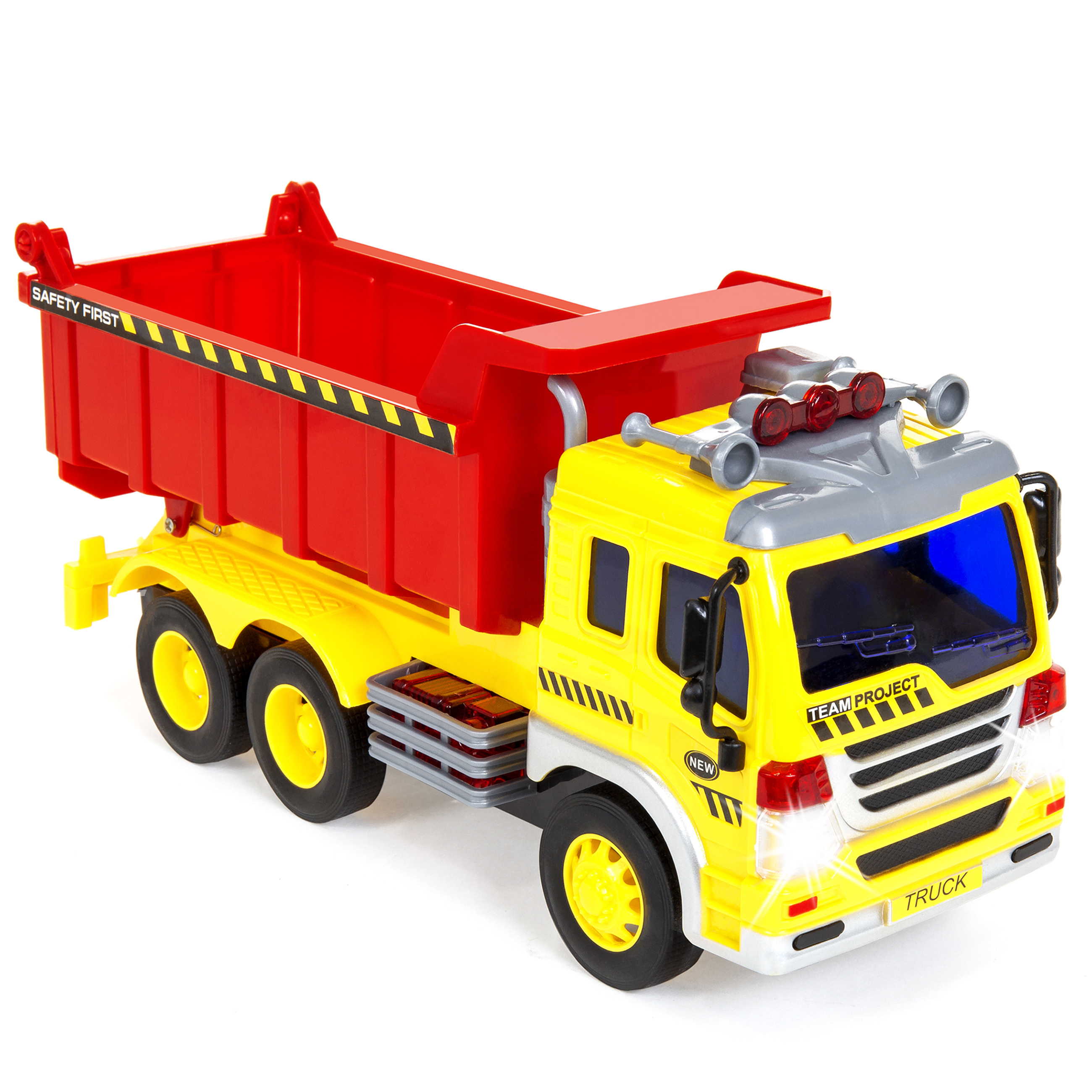 Best Choice Products 1 16 Scale Friction Powered Toy Dump Truck w  Lights and Sound by Best Choice Products
