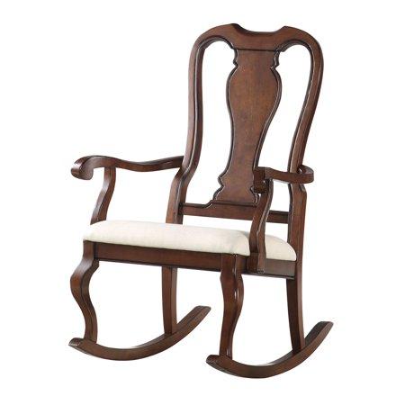 ACME Sheim Rocking Chair, Beige Fabric & Cherry