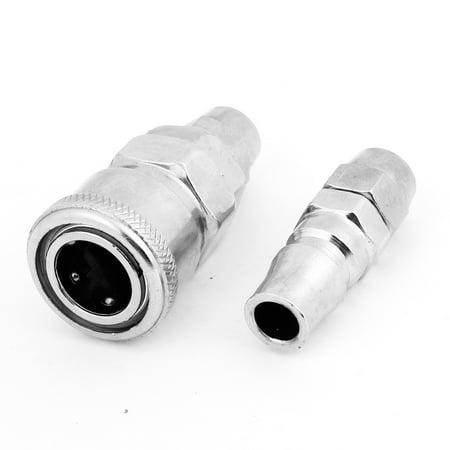 Unique Bargains SP40 PR20 Plug Set Metal Air Coupling Quick Connector Replacement Silver Tone