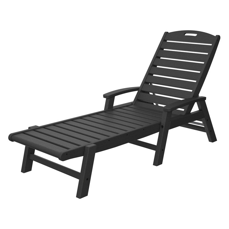 Trex Outdoor Furniture Recycled Plastic Yacht Club Chaise with Arms - Stackable