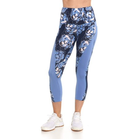 Women's Active High Rise Floral 7/8 Leggings with - High Rise Pockets