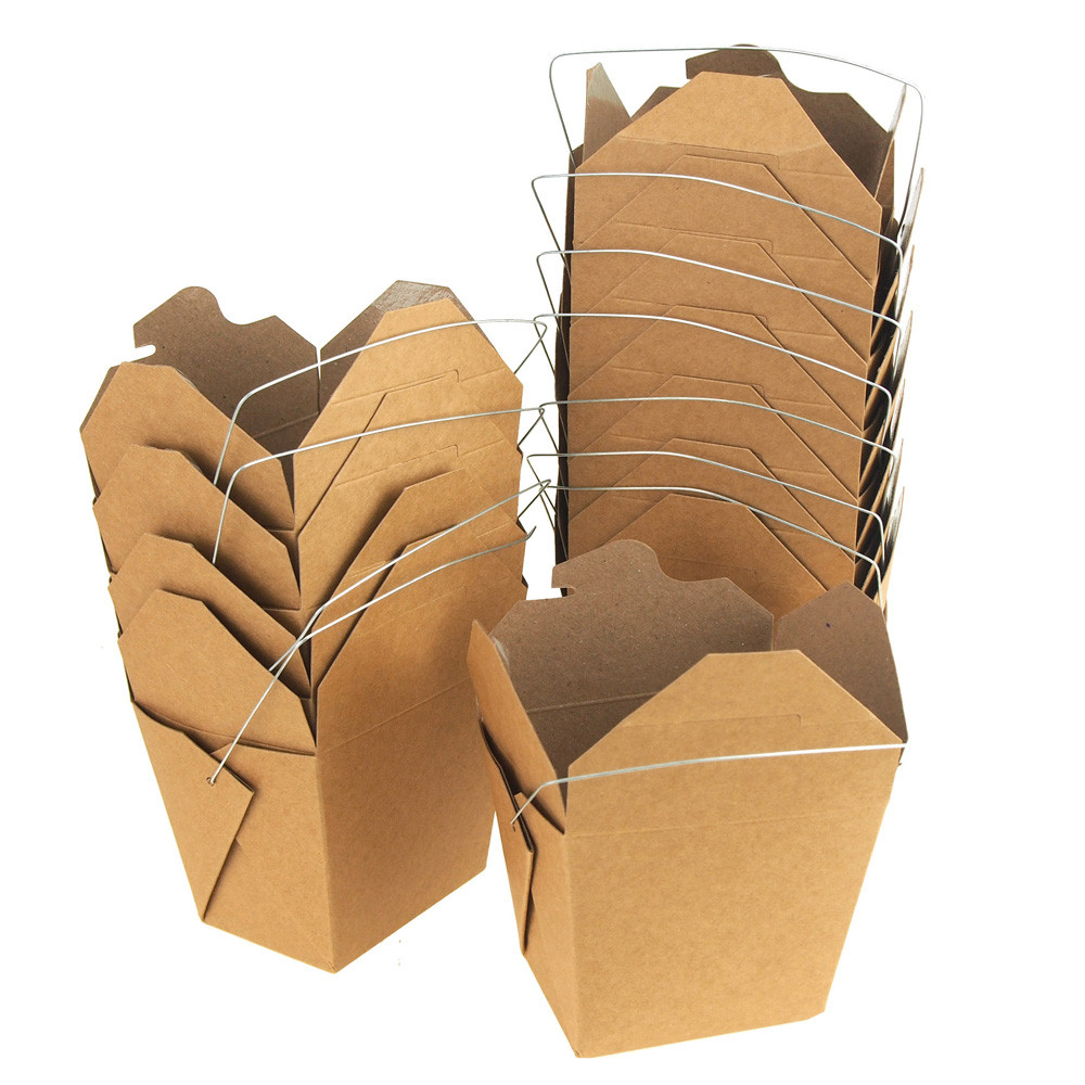 Take Out Boxes with Wire Handle, 3-1/4-Inch, 12-Piece, Natural