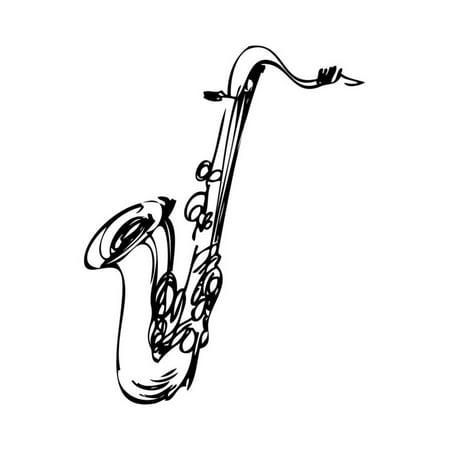 Sketch Brass Musical Instrument Saxophone Tenor Print Wall Art By Zirka 6 Brass Wall Art