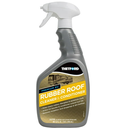 Thetford 32512 Rubber Roof Cleaner  Use To Deep Clean And Condition RV Rubber Roof From Oxidation/ Tree Sap/ Bird Droppings/ Dirt Buildup; 32 Ounce Spray Bottle; Single - image 1 de 1