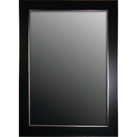 Second Look Mirrors Semi Matte Black with Silver Trim Edges Wall Mirror