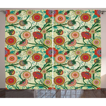 Floral Curtains 2 Panels Set, Oriental Inspirations Vintage Flower Arrangement Colorful Pattern Nature Inspiration, Window Drapes for Living Room Bedroom, 108W X 108L Inches, Multicolor, by Ambesonne