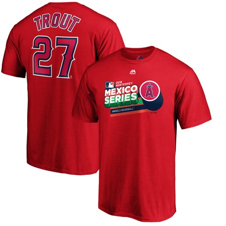 Majestic Angel Fish - Mike Trout Los Angeles Angels Majestic 2019 Mexico Series Name & Number T-Shirt - Red