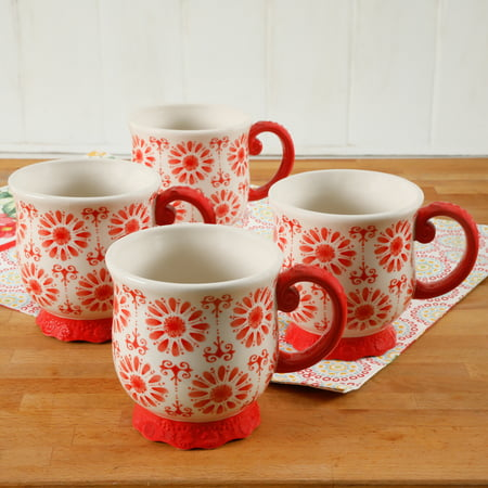 The Pioneer Woman Floral Bursts Footed 19oz Mugs, Set of 4 Image 1 of 3
