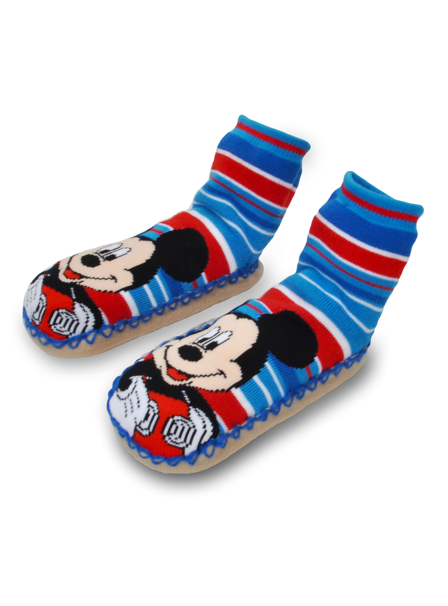Disney Mickey//Minnie Mouse Slipper Socks with Grippers for Boys /& Girls