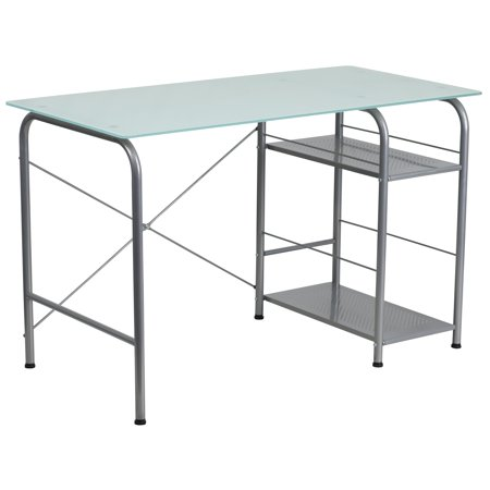 A Line Furniture Dover Glass Top Computer Office Writing Desk with Open Storage ()