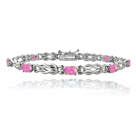 White Gold Pink Tourmaline Bracelet - Silver Tone Simulated Pink Opal & Diamond Accent Love Knot Bracelet