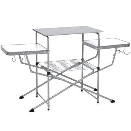 - Best Choice Products Portable Outdoor Deluxe Folding Camping Grilling Table for Food Preparation, Serving w/ Carrying Case, Silver