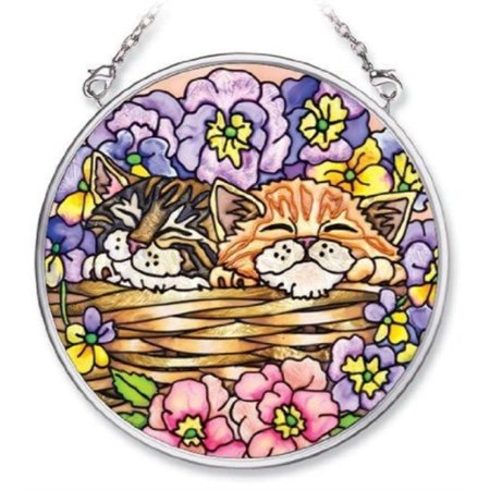 Amia 5482 Hand Painted Glass Suncatcher with Cat Design, 3-1/2-Inch -