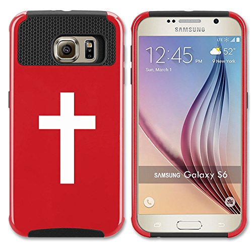 Samsung Galaxy S7 Shockproof Impact Hard Case Cover Cross Christian (Red ),MIP