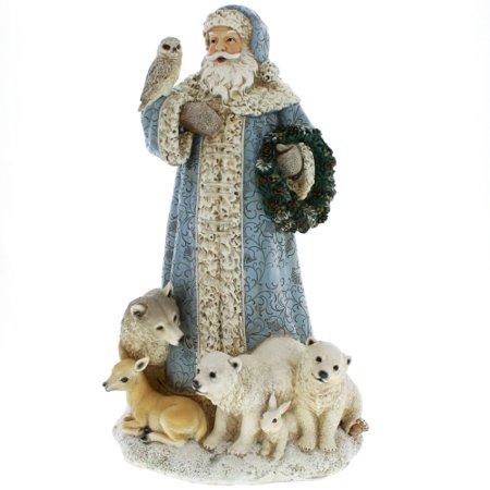 Santa with Woodland Animals Figurine