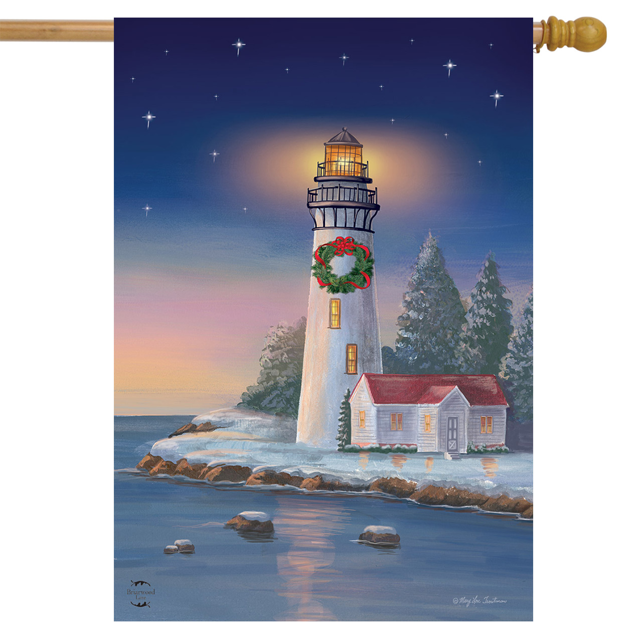 Christmas Lighthouse Nautical House Flag Wreath 28 X 40 Briarwood Lane Walmart Com Walmart Com