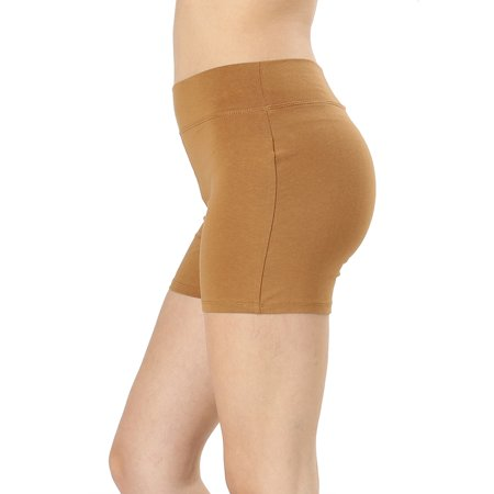 - Womens & Plus Soft Cotton Stretch High Waist Sports Short Pants with Wide Waist Band