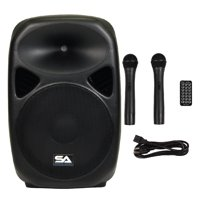 "Seismic Audio  Powered 15"" PA Speaker  Rechargeable with 2 Mics Remote Bluetooth - RSG-15"
