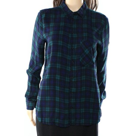 Polly & Esther NEW Green Women's Size Small S Plaid Button Down Shirt 280