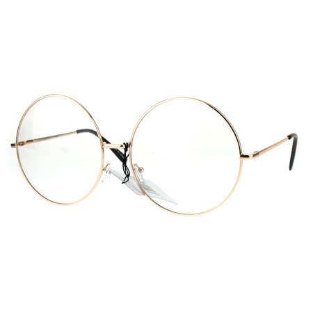 f484facbce Womens Huge Oversize Large Retro Hippie Round Circle Clear Lens Eye Glasses  Gold - Walmart.com