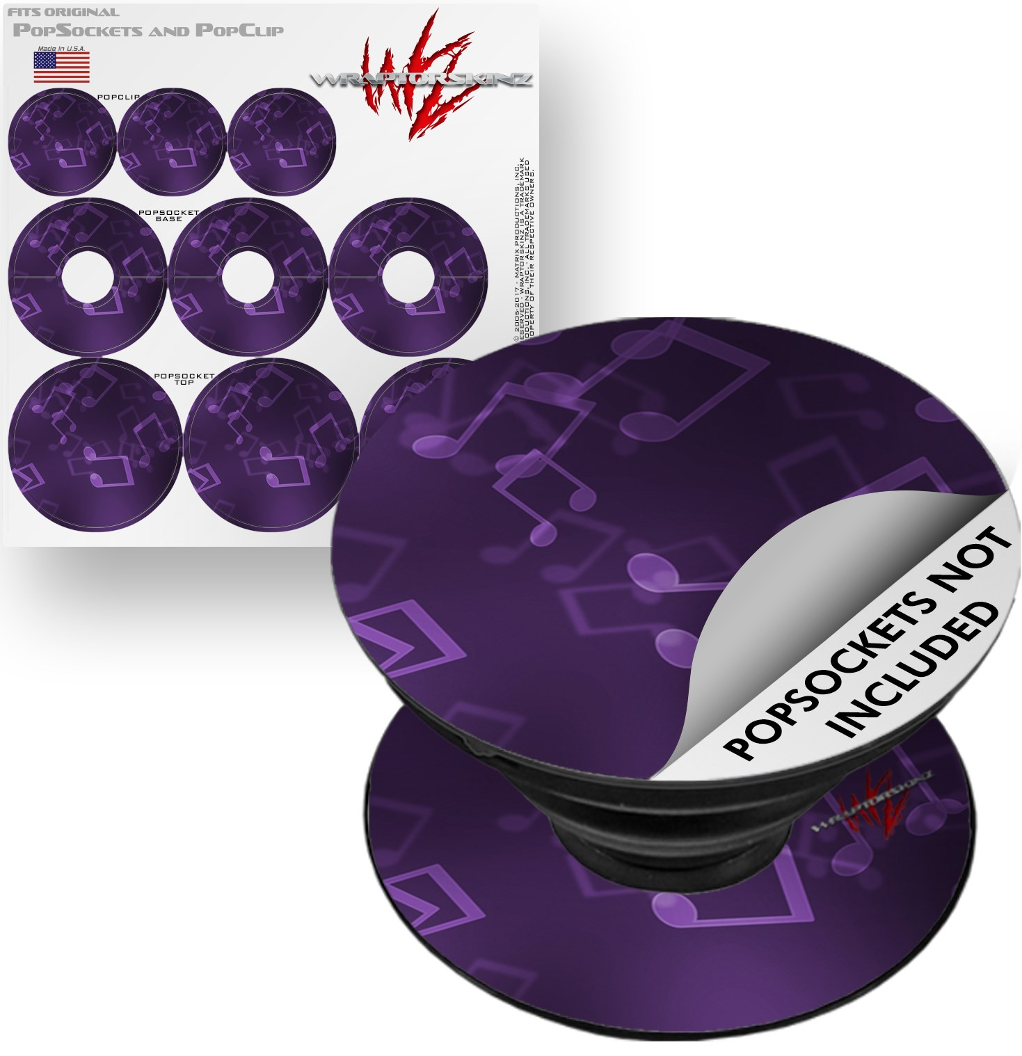 Decal Style Vinyl Skin Wrap 3 Pack for PopSockets Bokeh Music Purple (POPSOCKET NOT INCLUDED) by WraptorSkinz