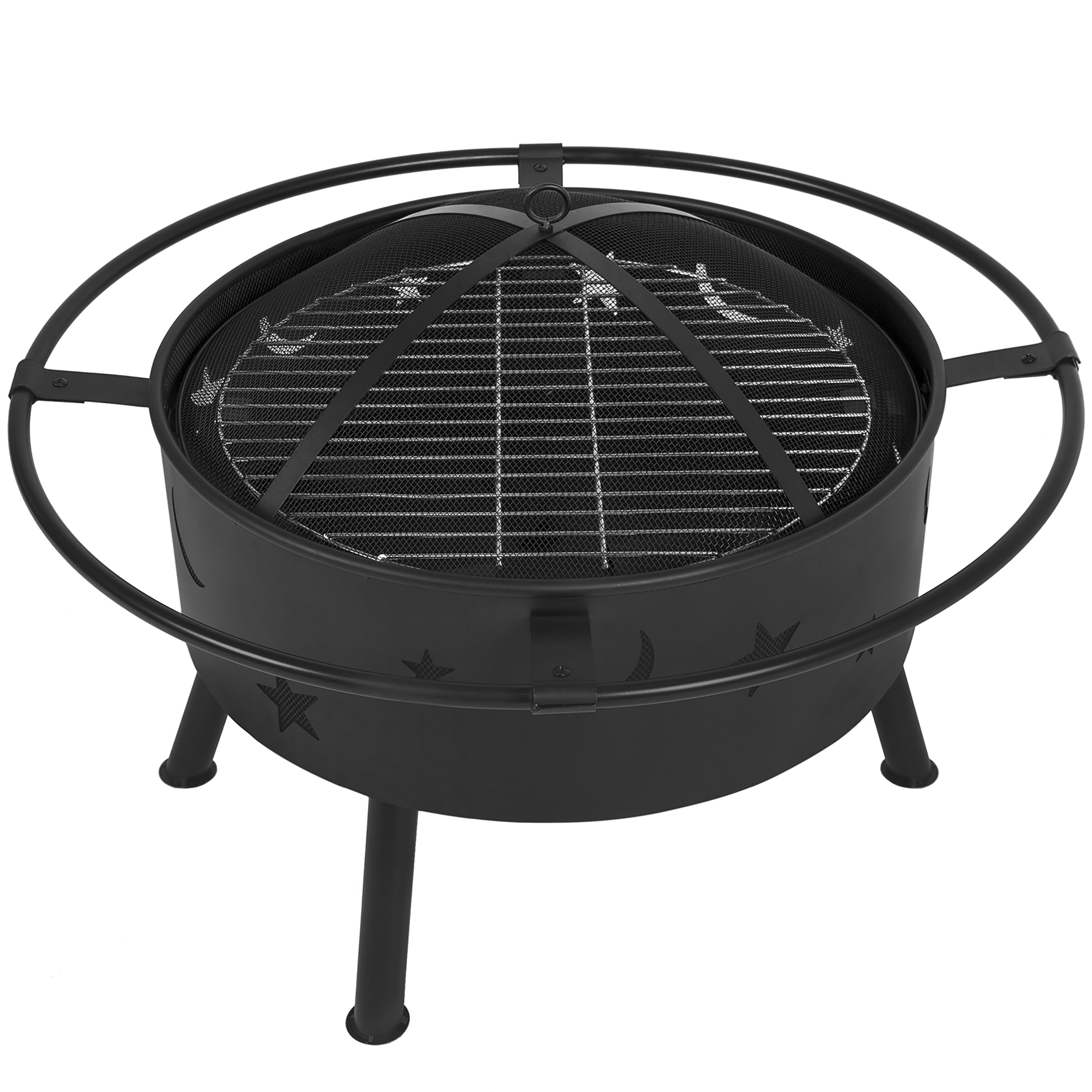 best choice products 30 fire pit bbq grill firebowl patio. Black Bedroom Furniture Sets. Home Design Ideas