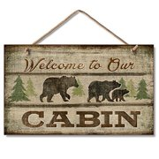 """Highland Graphics """"Welcome to our Cabin"""" Trees and Bears Sign"""