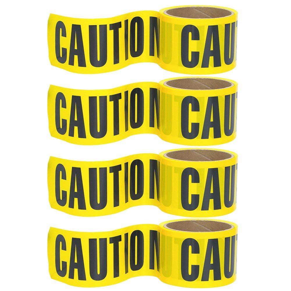 """Wideskall® 100' Feet x 3"""" inch Vinyl Yellow CAUTION Barrier Tape (4 Rolls)"""