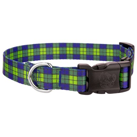 country brook design deluxe blue and green plaid dog collar