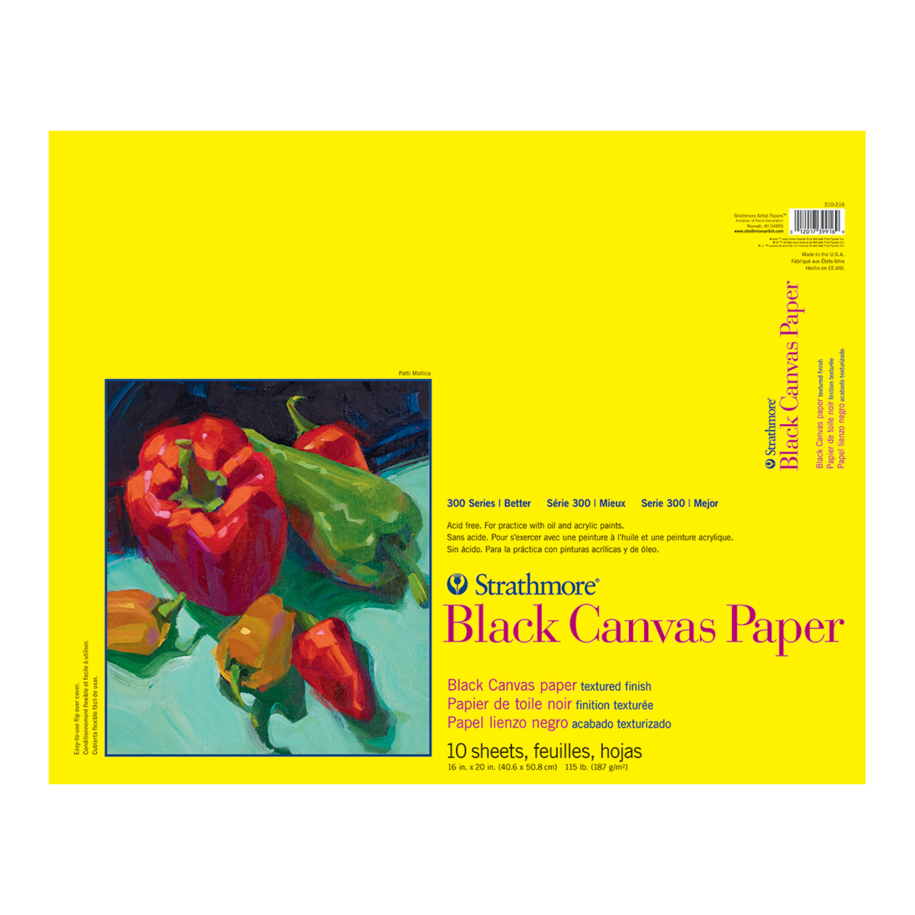 Strathmore Canvas Black Paper Pad, 300 Series, 16in x 20in