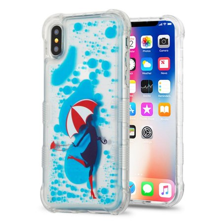 Apple iPhone X Case, Apple iPhone 10 Case, by Insten Oil Aqualava Rain Hard Plastic TPU Cover Case For Apple iPhone X - Blue ( Combo with iPhone X Privacy Screen Protector ) - image 2 of 3