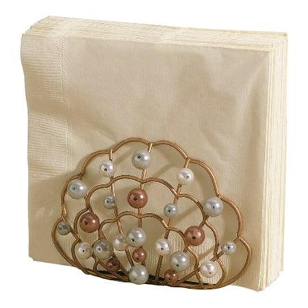 Coastal clam shell faux pearls napkin holder grasslands road - Coastal napkin holder ...