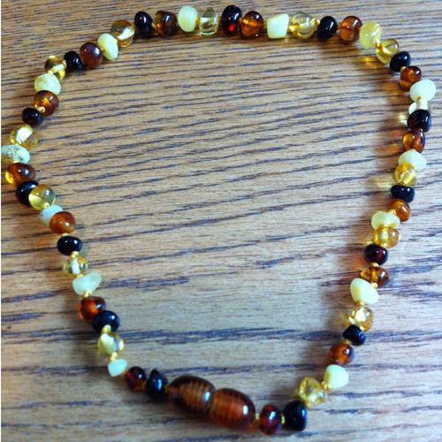 Baby Baltic Amber Teething Necklace - Baroque - Multi-Color