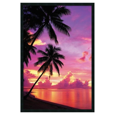 Tahitian Sunset Framed Art Print with Gel Coated Finish