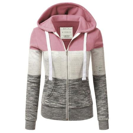 Doublju Women's 3 Color Block Pocket Zip-Up Hoodie Jacket for Women with Plus Size