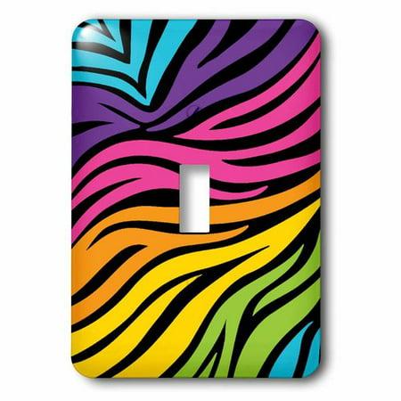 3dRose Modern Rainbow Zebra Stripes Animal Print Tween Girly Pattern, Single Toggle - Rainbow Animal Print
