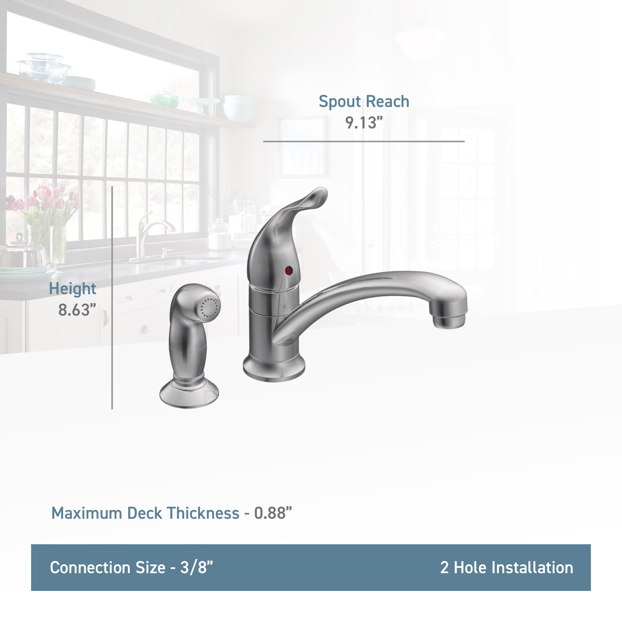 . Moen 7437 Chateau Single Handle Kitchen Faucet with Side Spray  Chrome