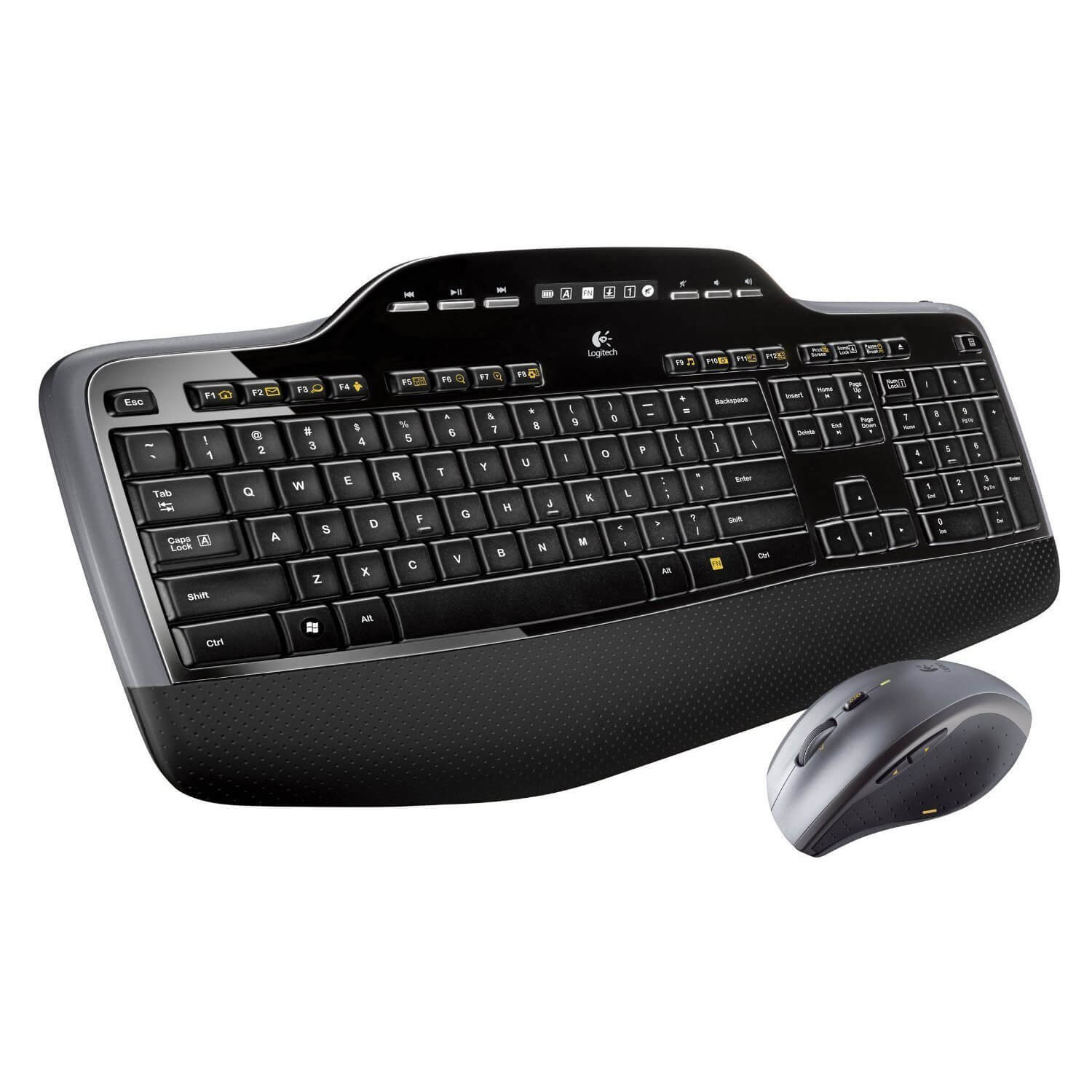 Refurbished Logitech MK735 Wireless Multimedia Keyboard & Laser Mouse - Black - 920-008666