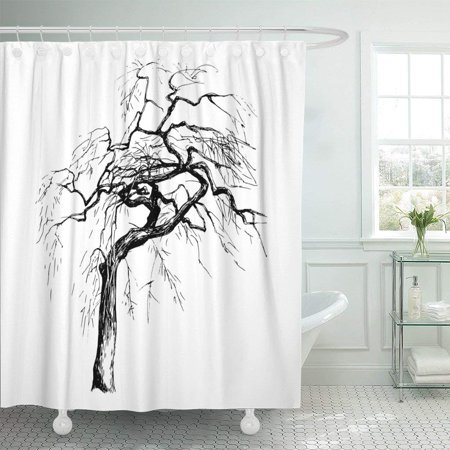 BPBOP Black Dead Hand Drawn Tree Silhouette on White Drawing Halloween Sketch Willow Aspen Polyester Shower Curtain Bathroom Decor 66x72 inches](Halloween Dead Tree Silhouette)