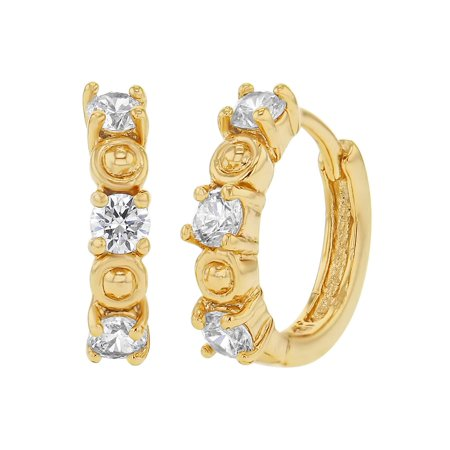 14k Gold Plated Prong Set Clear CZ Small Hoop Huggie Womens Earrings 0.47""