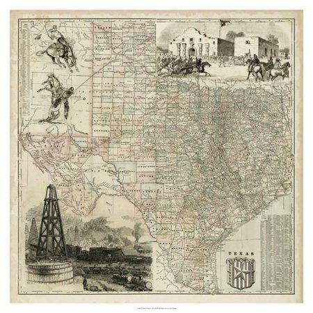 Map of Texas Vintage Antique Print Wall Art