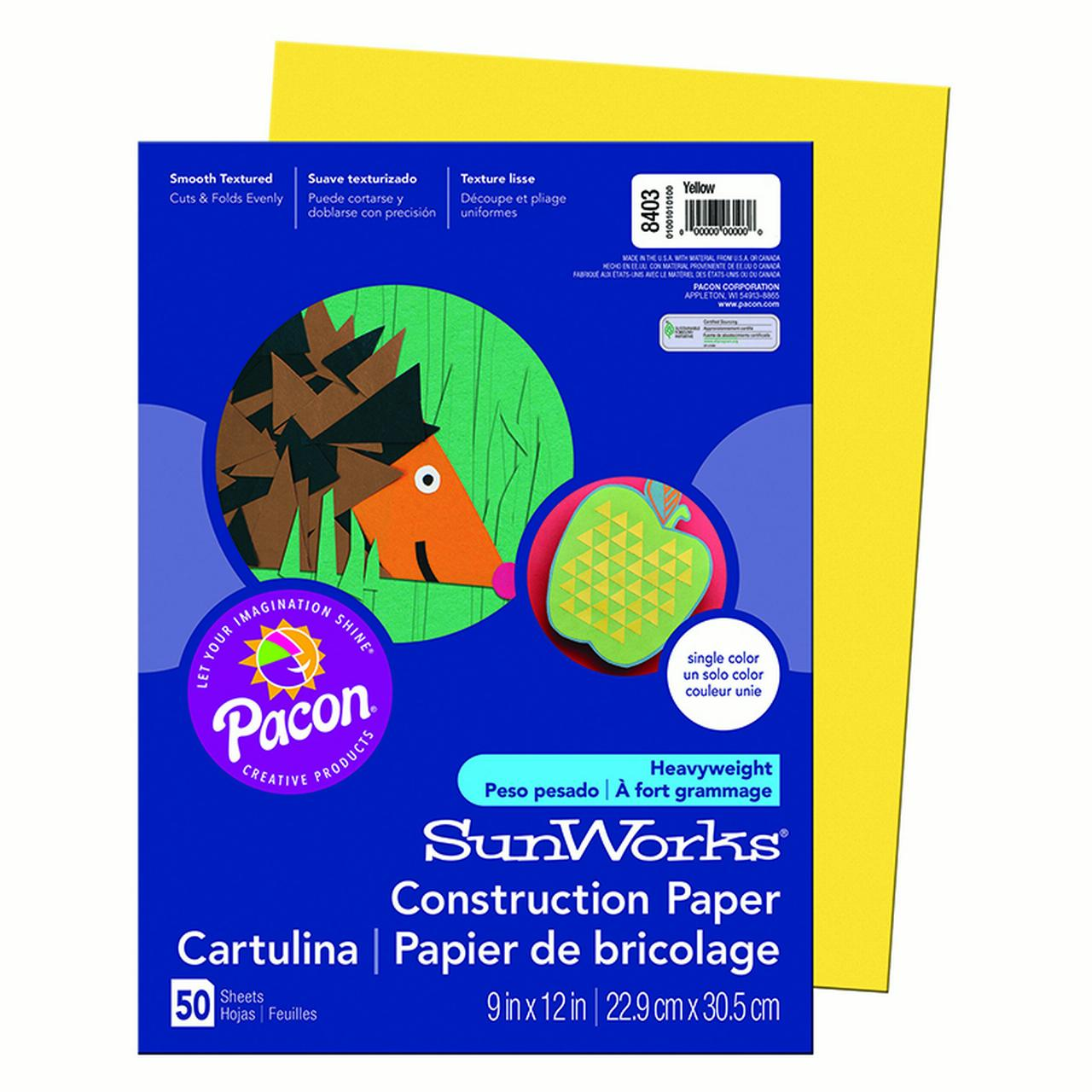 Pacon Corporation SunWorks Construction Paper, Heavyweight, 9 x 12, Yellow, 50 Sheets                                                           (Set of 4)