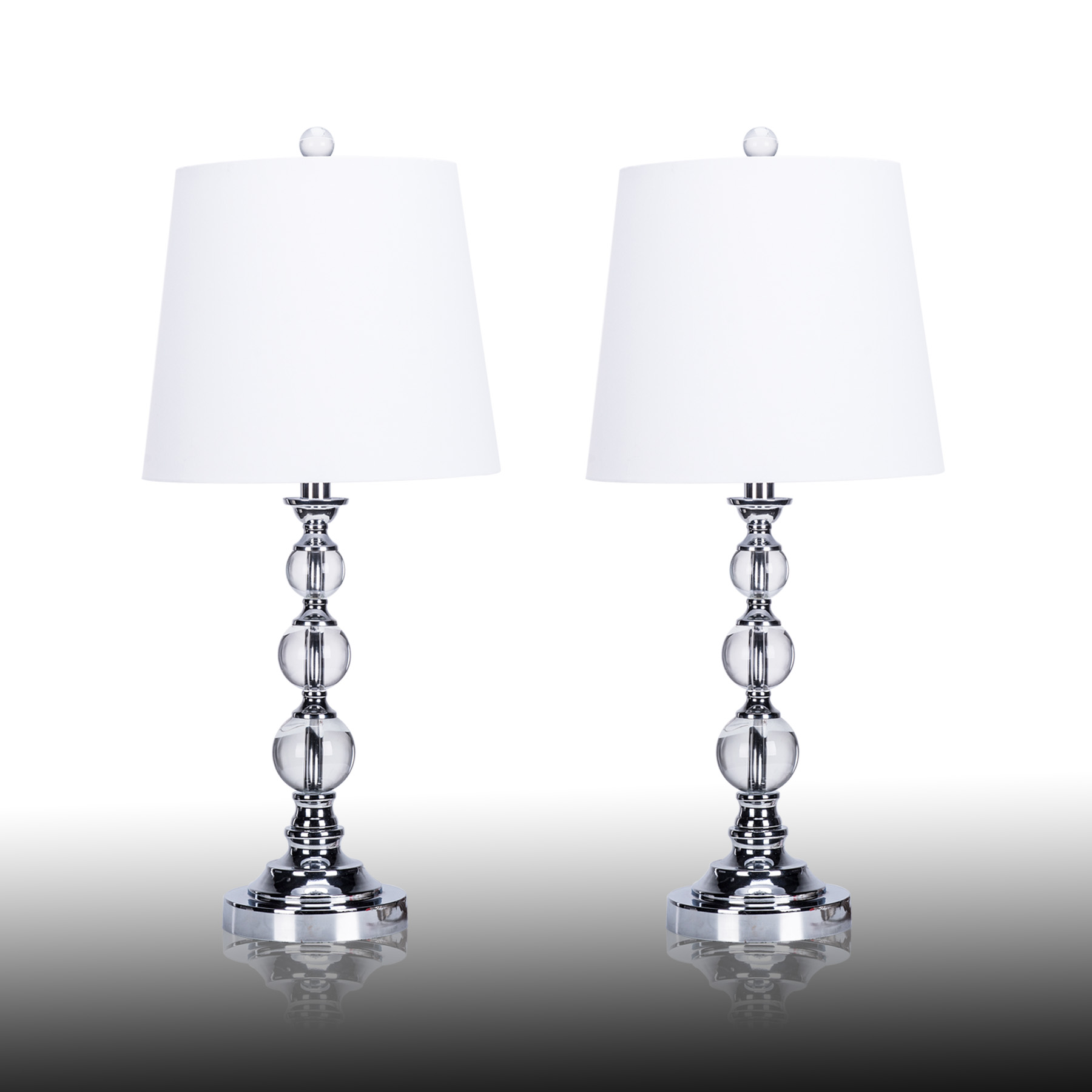 Merveilleux Chrome Coated Table Lamp Stacked Crystal Ball White Fabric Shade (Set Of 2)