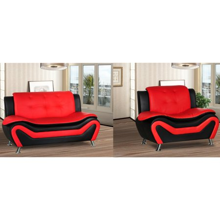 Camille two piece living room set-Black/Red